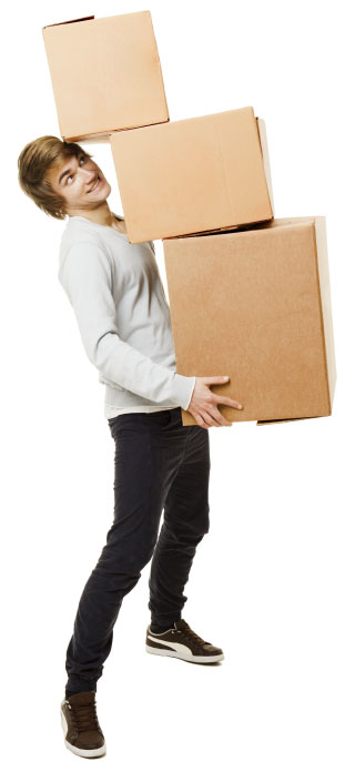 Man overloaded with boxes